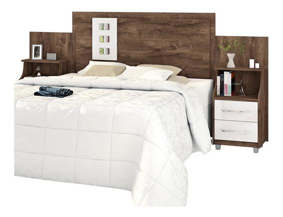 Cabeceira de cama Loja DoceLar Florida Casal/Queen/King 296cm x 125cm castanha/off white