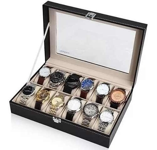 Pack 2 Caja Organizador Estuche Para 12 Relojes Exhibidor