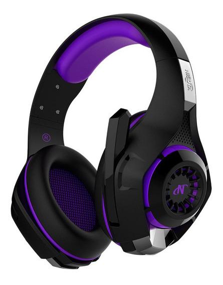 Auriculares gamer Nisuta NSAUG300 negro y violeta