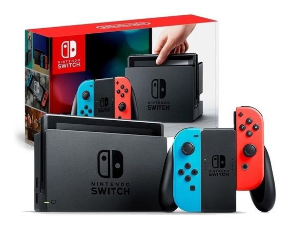 Nintendo Switch Neon + 2 Jogos + Kit Completo De Acessórios