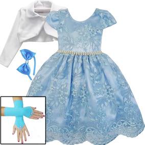 Vestido Frozen Alice Cinderela Princesa Azul Bolero E Kit
