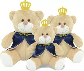 3 Ursos Príncipe Pelúcia Marinho Nicho P,m,g.bebê