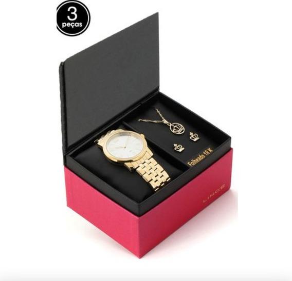 Relógio Lince Feminino Dourado Mais Semijóia