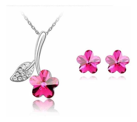Set Aretes Y Collar Chapa Oro Con Cristales Tipo Swarovsk