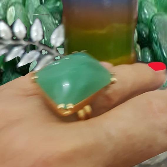 Anel Pedra Natural Quartzo Verde, Regulável, Banho Ouro 18k