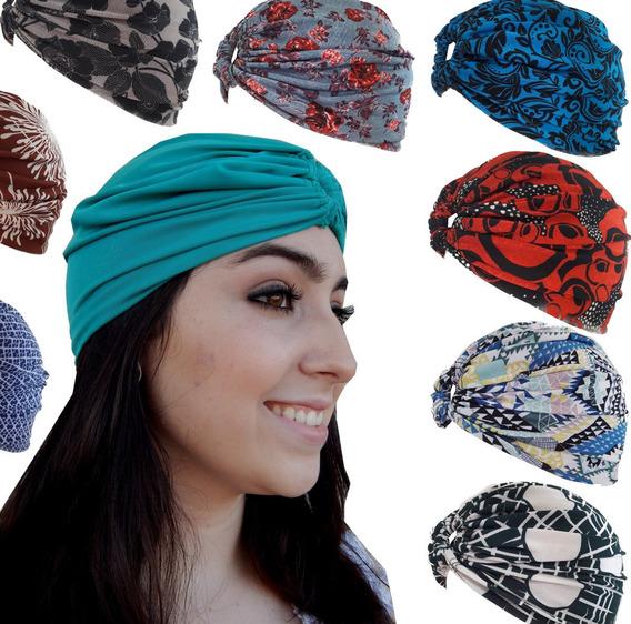 Kit 6 Turbante Fechado Headband Touca Gorro Estampado