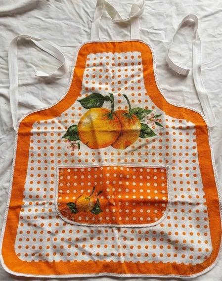 Delantal Cocina De Tela Con Bolsillo Doble, Nacional Años 80