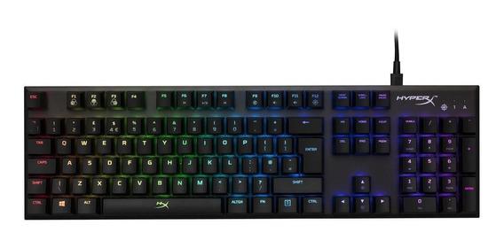 Teclado gamer HyperX Alloy FPS QWERTY Kailh Silver Speed inglês US de cor preto com luz RGB