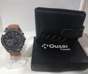 Relógio Masculino Pulseira De Couro +carteira De Couro Ousar