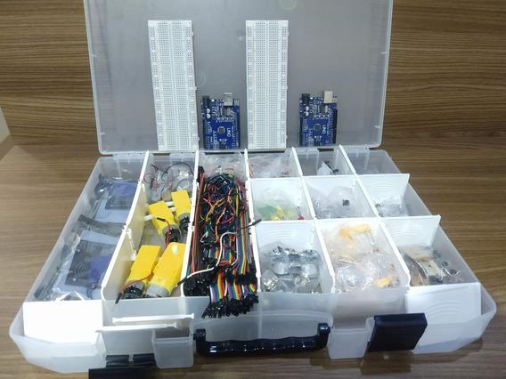 Kit C/ 2 Arduinos Uno R3 Smd + Muitos Componentes + Maleta