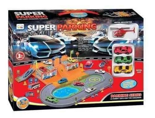 Super Parqueadero Garaje Diecast Playset - 4 Vehículos