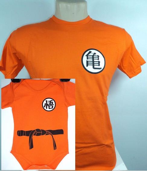 Body + Camisa Dragon Ball Goku Kame Bebê Lindo - Pai E Filho