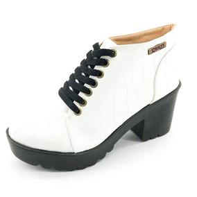 Bota Coturno Quality Shoes Feminina Croco Branco