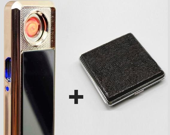 Kit Isqueiro Elétrico Eletronico Usb + Case De Cigarro Couro