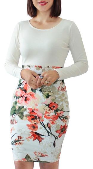 Vestido Lápiz Manga Larga Ajustado Flores Estampado