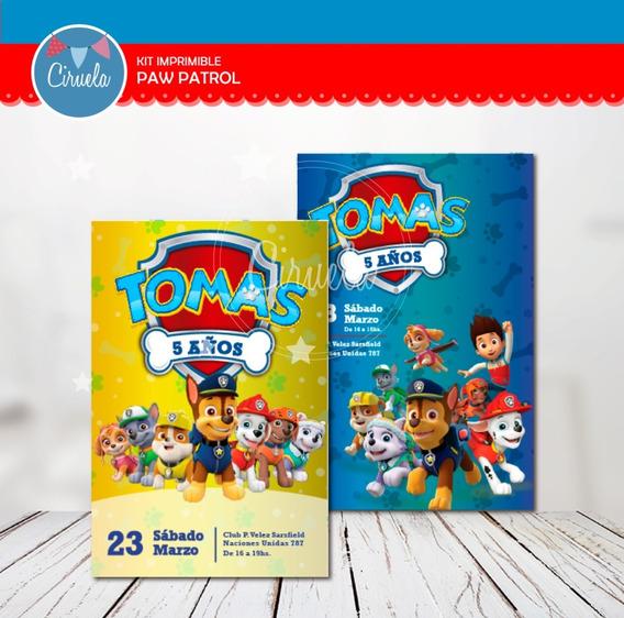 Kit Paw Patrol + Skye Sorpresero Piñata Invitación Stickers