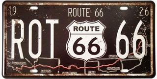 Placa De Matricula Decorativa Route 66 Diseño Retro