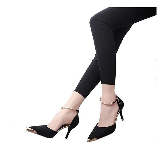 Zapatos Talón Alto Para Mujeres Correa Hebilla Gamuza Punti