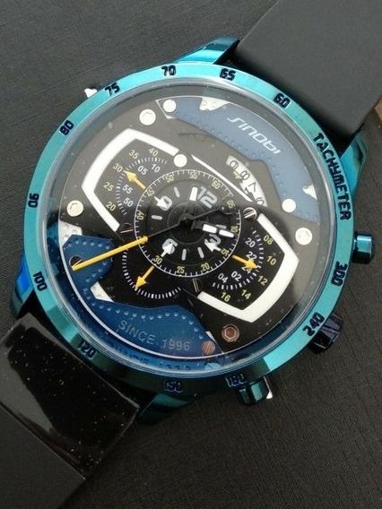 Relógio Sinobi Azul 50mm Metalizado Em Estoque No Brasil