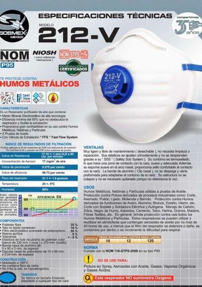 Cubrebocas P95 212v Filtración Paquete 10 Pi