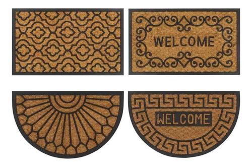 Felpudo Rustico Coco Goma 40x60 Welcome Bienvenidos Entrada