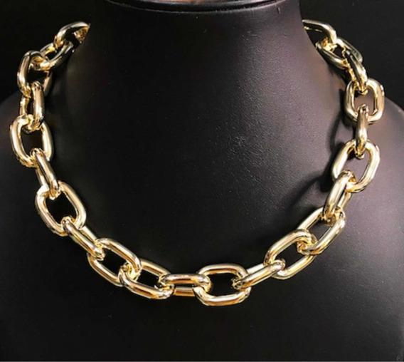 Colar Corrente Grossa Semi-jóia Banhada A Ouro