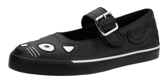 Zapatos Tenis De Piel Tuk A9217l Gato Gotico Demonia Iron Fi