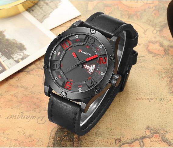 Relógio De Pulso Curren 8251 Pulseira Couro Preto Importado