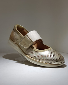 Flexi Zapato De Dama Estilo 28211 Super Comodo Piel Oro