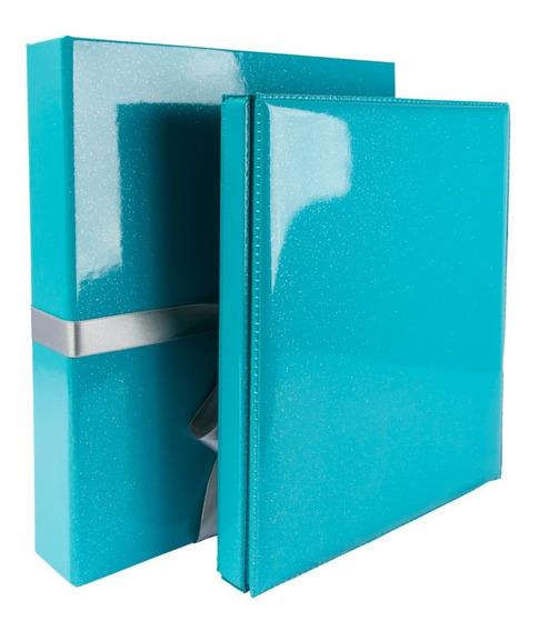 Álbum C/ Cx Laço Azul -200 Fotos 20x25 Ou 600 Fotos 10x15