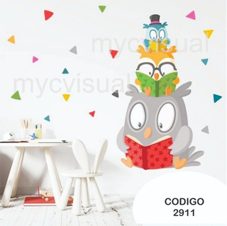 Vinilo Decorativo Pared Infantil Búhos Y Lechuzas 150 Ancho