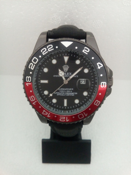 Relógio Submariner Black Aço Couro Grande Pesado Barato Luxo