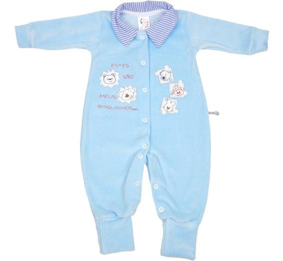 Roupa Bebê Menino Macaquinho De Plush Botões Gola De Tecido