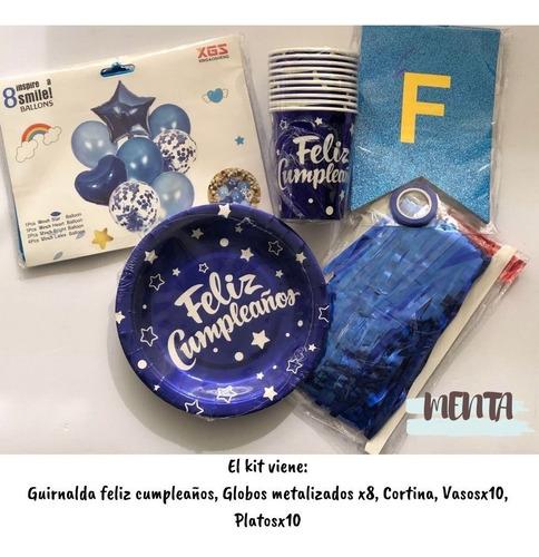 Kit Decoración Celebración De Cumpleaños  Azul