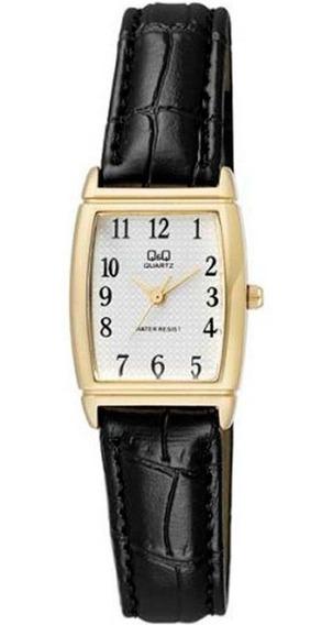 Relógio Feminino Q&q Dourado Quadrado Pulseira Couro Preto