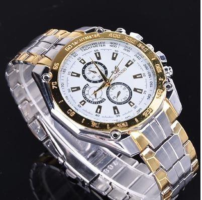 Relógio De Pulso De Quartzo De Luxo De Aço Inoxidável