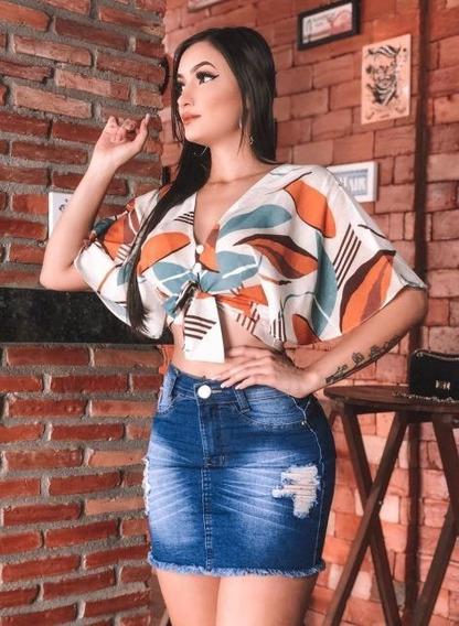 Saia Jeans Feminina Cintura Curta Media Laycra - Premium
