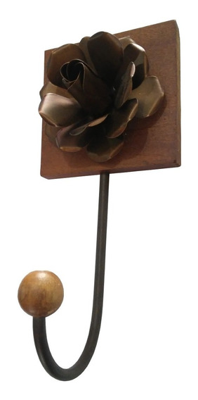 Cabide Simples De Toalha Artesanal Em Ferro Com Flor Lavabo