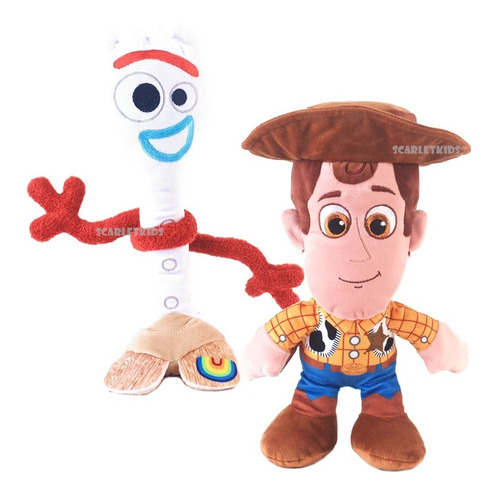 Forky + Woody Toy Story 4 Peluche 30cm Combo Orig Scarlet