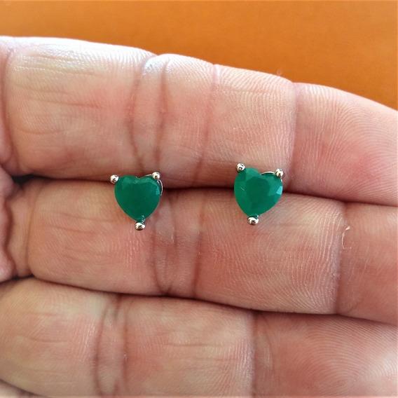 Brinco Feminino Prateado Em Forma De Coração Pedra Verde