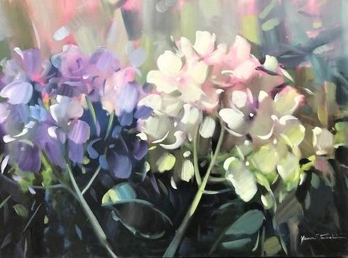 Imagem 1 de 6 de Obra/quadro Acrílico S/tela Painel Hortências 60x80cm