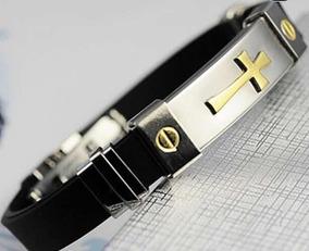 Bracelete Aço Inoxidável Cruz