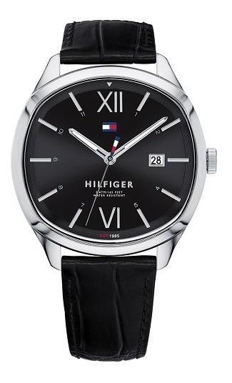 Relógio Masculino Tommy Hilfiger Couro Preto-1710365 Origina