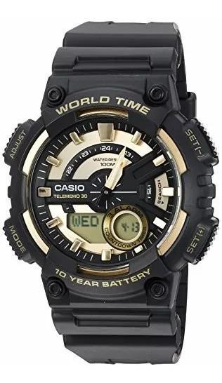 Relógio Masculino Casio Bateria 10 Anos Preto E Dourado