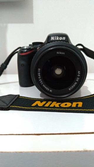 Câmera Fotográfica Nikon D5100 Lente Af- 18-55 Mm I:3.5-5.6g