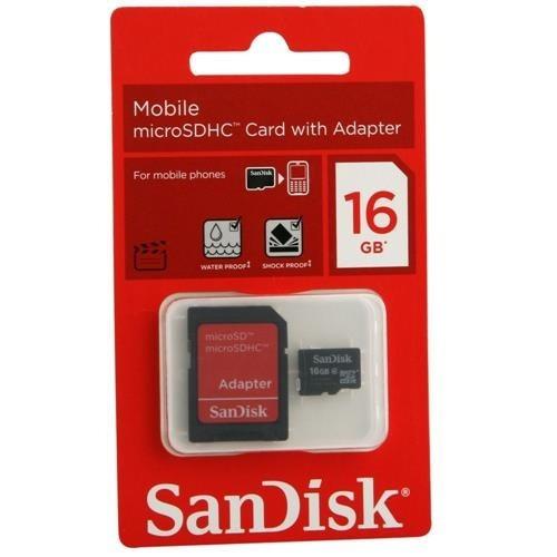Cartão De Memória Micro Sdhc 16gb + Adaptador Sd - Sandisk