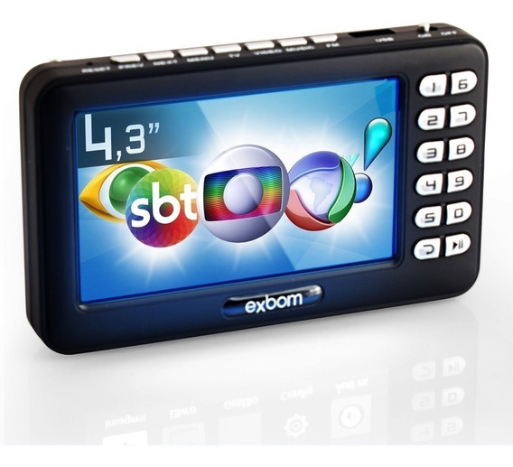 Mini Tv Digital Portátil Hd Tela 4.3 Usb Sd Rádio Fm Bateria