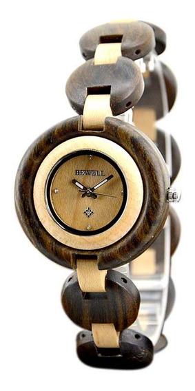 Relógio Pulseira Madeira Bewell Original Bege E Marrom