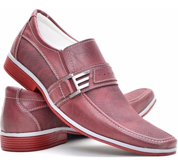 Sapato Social Masculino Bico Fino Luxo Vermelho Confortável