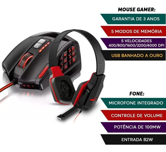 Kit Head Fone Gamer Warrior + Mouse 18 Botoes Profissional.